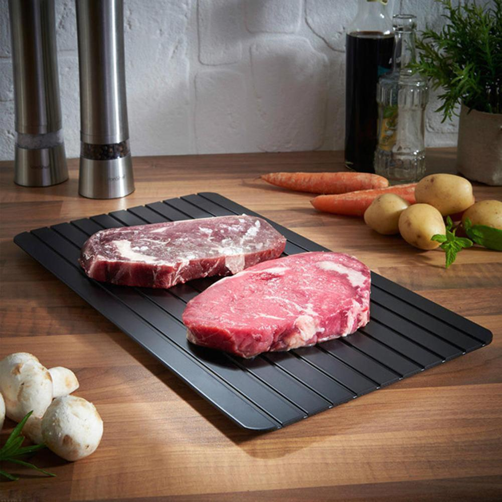 Kitchen Defrosting Trays Frozen Food Defrosting Tray Aluminum Alloy Thawing Board Fast Defrost Meat Defrost Tray Kitchen Tools