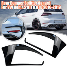 Pair Glossy Black Rear Bumper Splitter Canard For VW Golf 7.5 GTI R GTD 2016 2017 2018 2019 Auto Exterior Parts