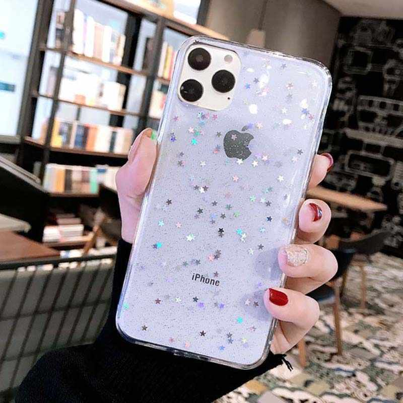 Ottwn Shining Pailletten Telefoon Case Voor Iphone 11 Pro Max Xs Max Xr X 6 6 S 7 8 Plus glitter Liefde Hart Star Soft Tpu Clear Cover