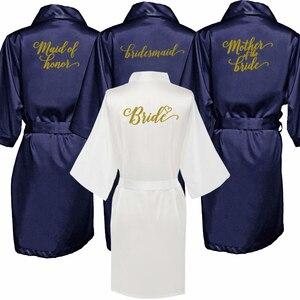 Image 1 - חיל הים כחול חלוק זהב כתיבת קימונו סאטן robe שושבינה אחות של הכלה גלימות חתונה מתנה הטובה ביותר זרוק חינם