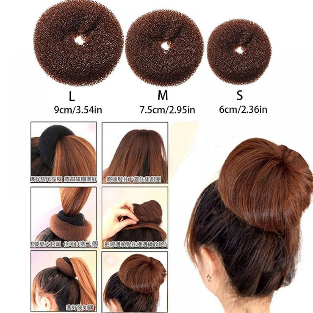 Модное коричневое кольцо для пучка, формирователь волос, Пончик, инструменты для укладки, Корейская Прическа