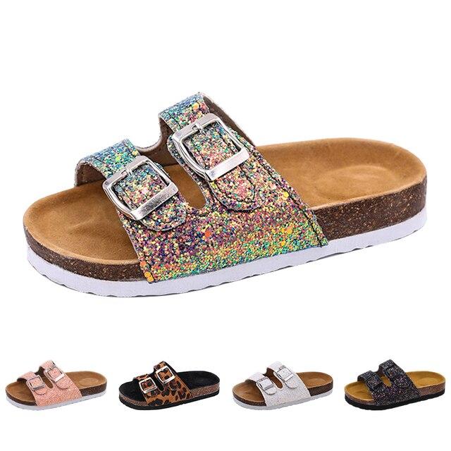 2019 nowe kapcie dziecięce letnia plaża dzieci korkowe sandały błyszczące cekiny dla rodzinnych butów Leopard boso mieszkania dziewczyny pantofel