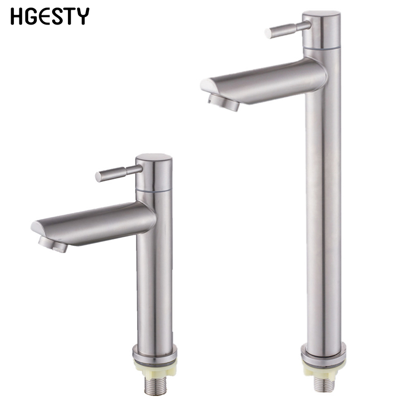 Stainless Steel Bathroom Basin Sink Faucet Deck Mounted Single Cold Faucet Rust And Corrosion Resistance Bathroom Sink Water Tap