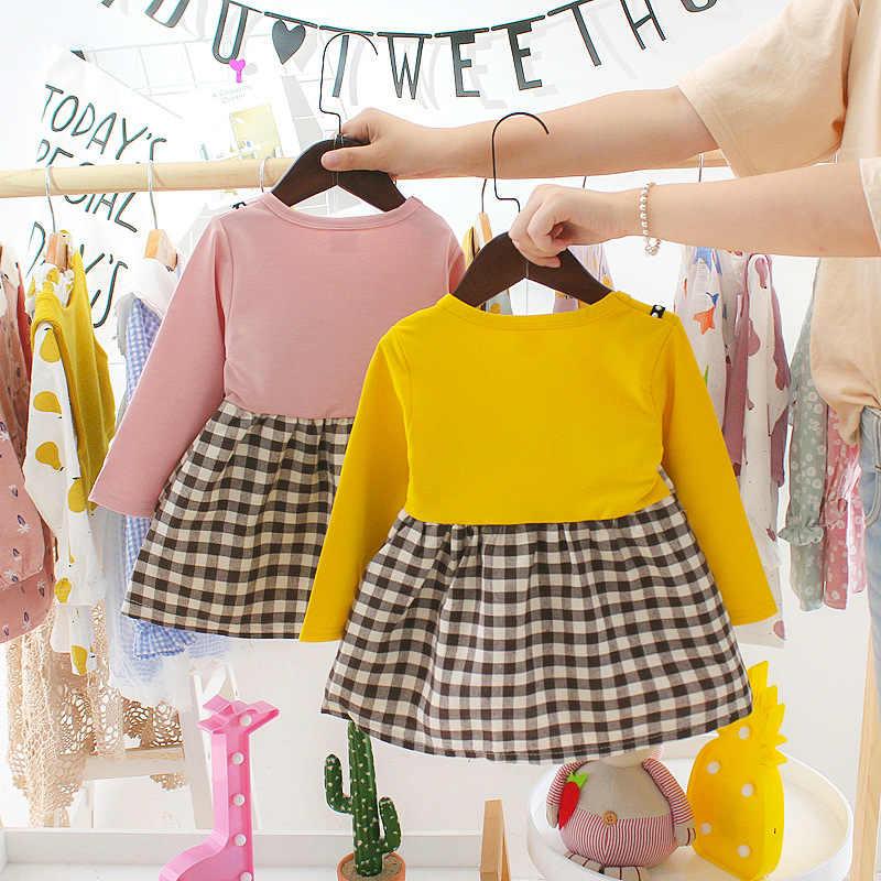 ربيع الخريف منقوشة طفلة فستان بكم طويل عادية الصلبة الأميرة فستان حفلة عيد ميلاد طفل فساتين ملابس الرضع