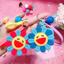 2019 Cute Cartoon Colorful Sunflower Key chain Epoxy DIY Rings for Women Bag Backpack Pendant Mobile Phone Charms Decoration