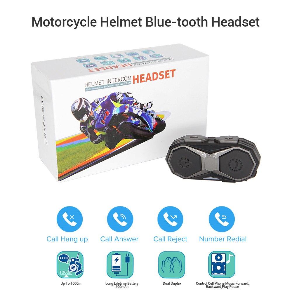BOBLOV WT005  1KM Motorcycle Helmet Headset Intercom Handsfree Moto Bluetooth Wireless Headset Interphone Music MP3 FM Radio