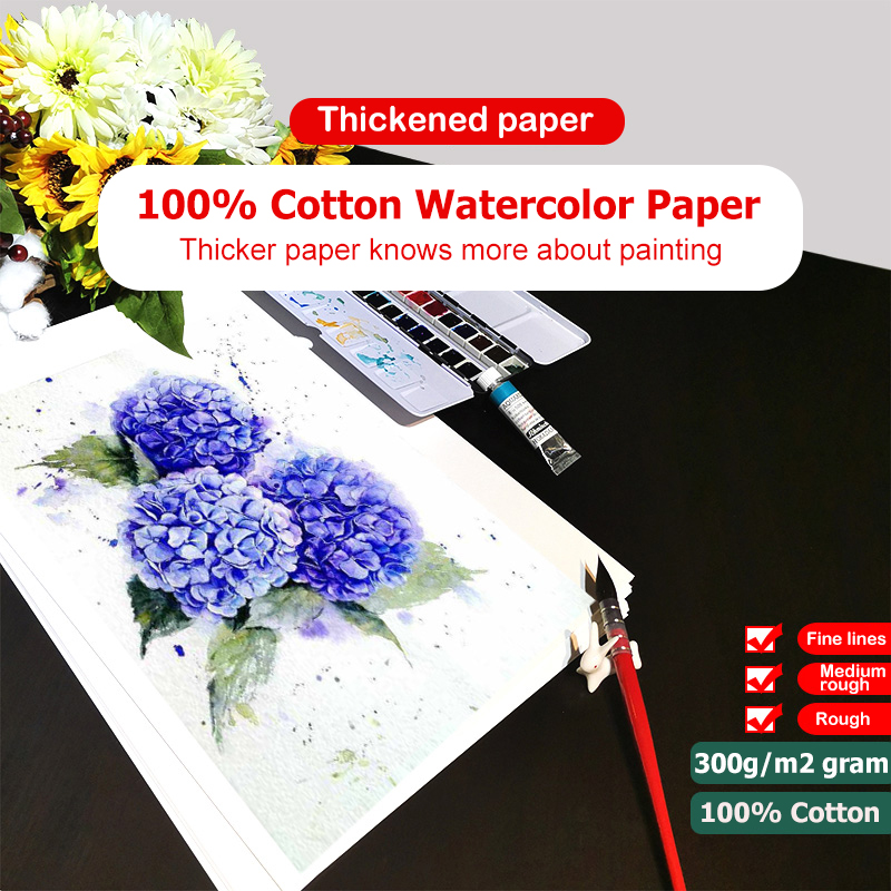 100% Cotton Watercolor Paper 300g/m2 Large Size 20Sheet Water-soluble Painting Fine/Medium/Coarse Grain Postcard Drawing Paper