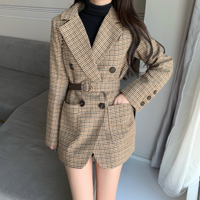 New 2020 Spring Autumn Women's Blazers Sashes Jackets Notched Outerwear England Style OL Vintage Plaid Blazer Woolen Coat