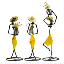 Creative Iron Artist Desktop Flower Arrangement Straw Hat Girl Flower Arrangement Living Room Bookcase Decoration Decoration