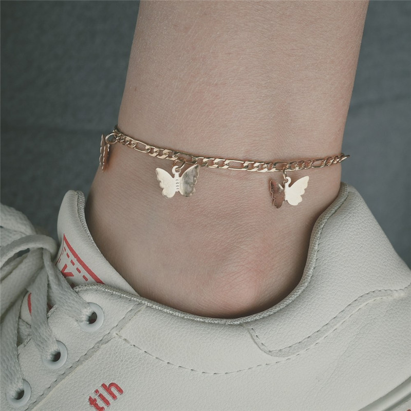 Modyle New Gold Color butterfly pendant anklet bracelet beach bohemian woman ankle boots leg chain jewelry gift
