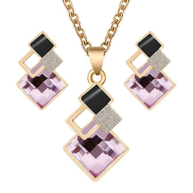 Crystal Geometric Pendants Necklace Earrings Sets for Women Fashion Jewelry Set Bridal Wedding Earring Necklace Set 5