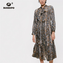 ROHOPO Semi Tie High Collar Cake layers Snakeskin Pattern Midi Dress Ruffled Hem Elastic Waist Printed Calf Vestido #9290