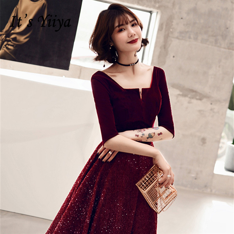 It's YiiYa Cocktail Dresses 2019 Summer Elegant Sequins Party Formal Dress Half Sleeves Zipper A-line Tea Length Prom Gown E368