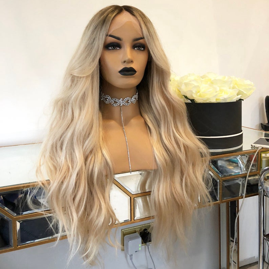 Ombre Blonde 13x6 Lace Front Wig Pre Plucked With Baby Hair Brazilian Virgin Human Hair Blonde Wig With Dark Roots For Women