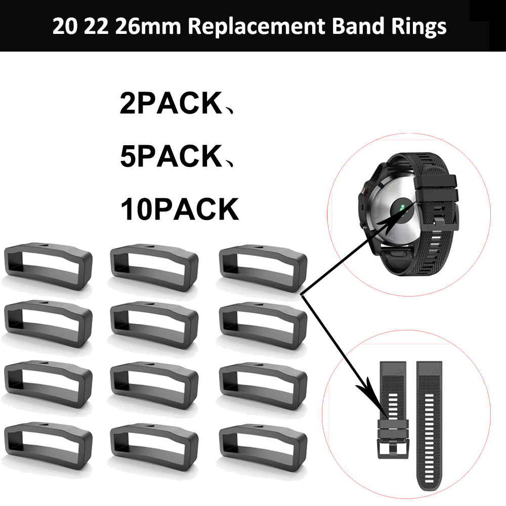 20mm 22mm 26mm Replacement Loop Ring Holder For Garmin Fenix 6S 6X 6 Pro 5X 5S 5 5 Plus 3 HR Silicone Rubber Clasp Keeper
