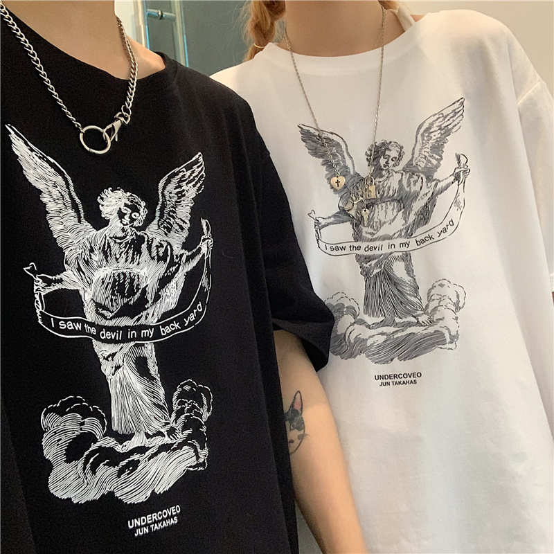 100 Cotton angel Harajuku Man summer t shirt Short Sleeve O neck oversized Clothes 2019 anime Print Couple Fashion White Top in T Shirts from Men 39 s Clothing