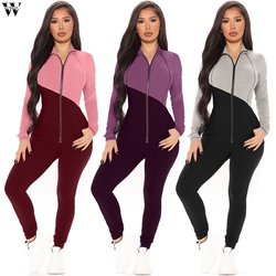 Sin las mujeres traje de deporte conjunto gimnasio ropa Fitness Mujer 2 piezas conjunto fitness chándal top corto de manga larga con cremallera + legging traje
