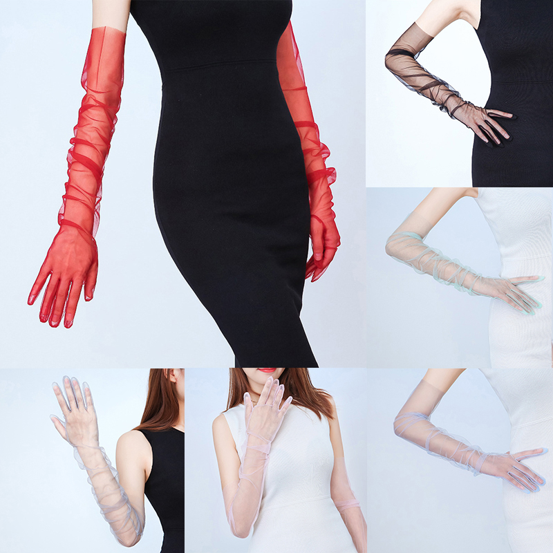 Summer Women Ultra-thin Sunscreen Driving Glove Sexy Pure Color Lace Gloves Mesh Yarn Long Full Finger Gloves Accessories