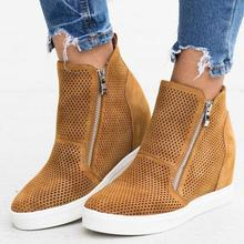 2019 new women ankle boots wedges height incleasing shoes woman round toe cut out booties WXX015