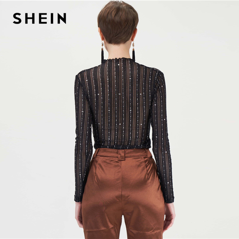 SHEIN Black Stand Collar Silver Thread Sheer Star Mesh Sexy Tee Women Tops Autumn Long Sleeve Night Out Glamorous Skinny T-shirt 2