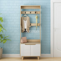 176cm Simple Clothing Hanging and Shoes Storage Cabinet Combination Hat Cloth Bag Coat Hanger Wood Floor Door Side Stand Rack