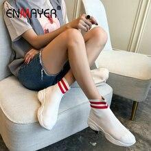 купить ENMAYER  Knitting Ankle Boots for Women Round Toe Slip on Sock Shoes Women Sneakers Stretch Fabric Women Boots Women Shoes 34-40 дешево
