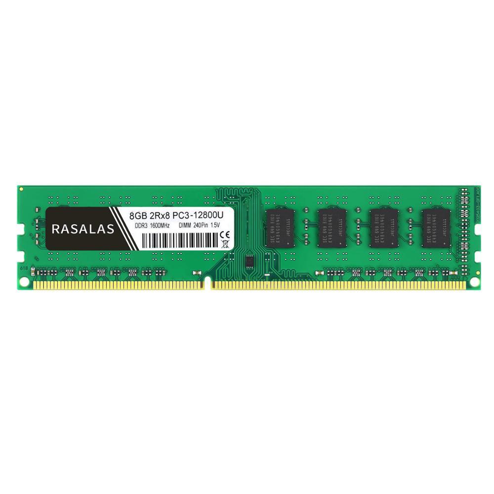 Rasalas 8 GB 2Rx8 PC3-12800U DDR3 1600Mhz 1,5V DDR3L 1.35V 240Pin 8 GB olmayan Ecc DIMM masaüstü bilgisayar RAM tam uyumlu bellek