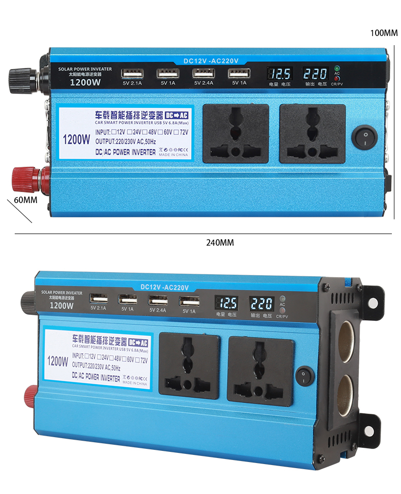 Auto solar Inverter DC 12V 24V zu AC 220V 1600W 500W power Inverter Spannung Transformator konverter 4 USB Led-anzeige für Auto Home