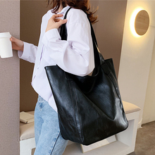 Burminsa Vintage Large Capacity Soft Shoulder Bag For Women Office Ladies Big Work A4 Handbags High Quality PU Leather Tote Bags