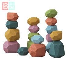 Bebek oyuncak ahşap Jenga yapı taşı renkli taş yaratıcı eğitici oyuncaklar İskandinav tarzı istifleme oyunu gökkuşağı taş ahşap oyuncak