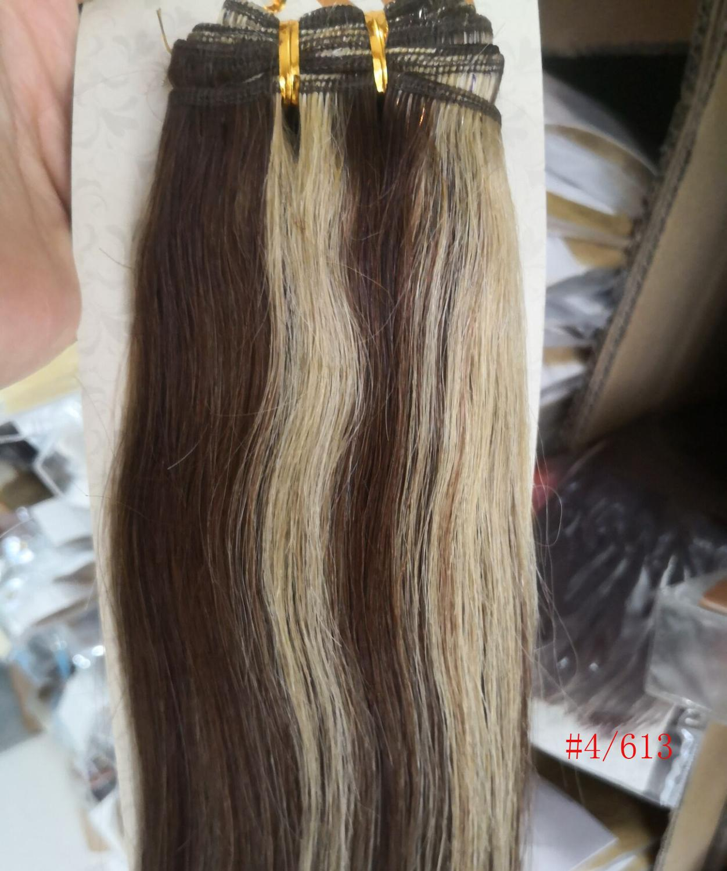 Chocola, бразильские волосы remy на всю голову, 10 шт. в наборе, 280 г, 16-28 дюймов, натуральные прямые человеческие волосы для наращивания на заколках - Цвет: 4 mix 613