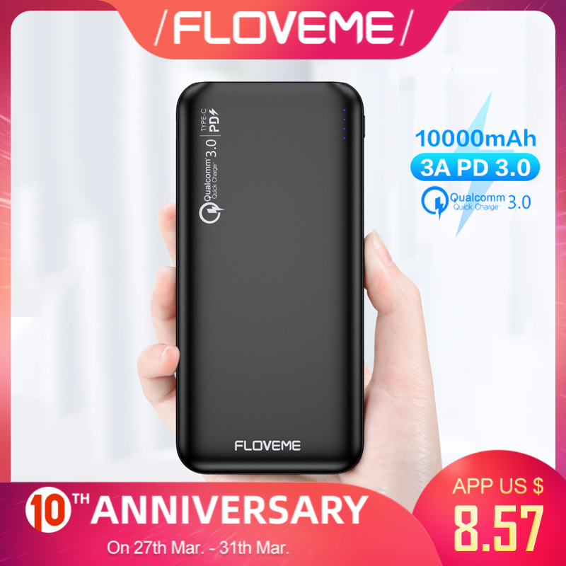 FLOVEME QC3.0 Power Bank 10000mAh Quick Charge 3.0 For Xiaomi Powerbank 10000 MAh PD Poverbank External Battery Portable Charger