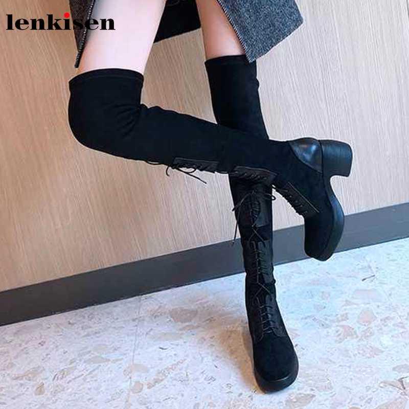 Lenkisen độc đáo phối ren co giãn giày tròn Giày cao gót đáy dày mùa đông giữ ấm nữ thời trang hơn- -Đầu gối Giày L32