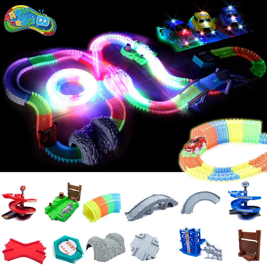 Magic Track DIY Flexible Assembly Racetrack Universal Accessories System That Can Bend With Race Car Glow In The Dark Playset