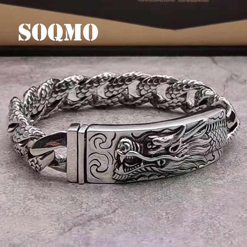 SOQMO Genuine 925 Sterling Silver Dragon Curb Chain Men Bracelet Vintage Punk Thai Sliver Handcrafted Bracelets For Men Jewelry