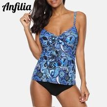 Anfilia Tankini Set Women Swimwear Vintage Floral Print Swimsuit Tied Bikini Bathing Suit Beach Wear