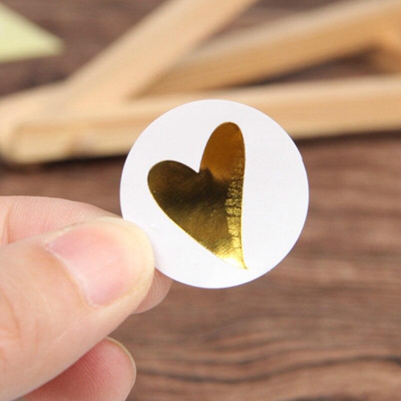 Rodada de Ouro Coração Adesivo Etiqueta Bonito Adesivo Etiqueta de Selagem Para Cartões De Aniversário Envelope Presentes Decoração de Papelaria 160 Pçs/lote