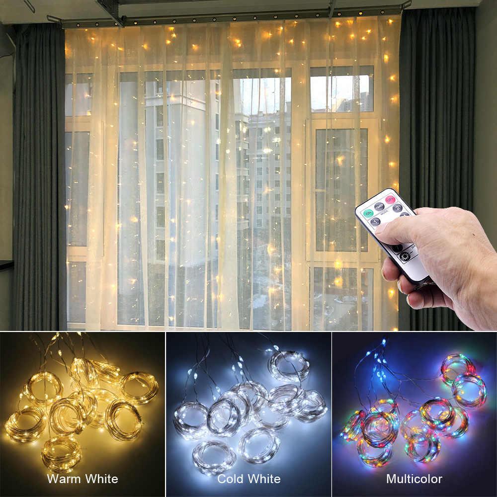 3M kurtyna LED Garland na oknie łańcuchy świetlne USB Fairy Festoon z pilotem świąteczna dekoracja na Ramadan dla domu