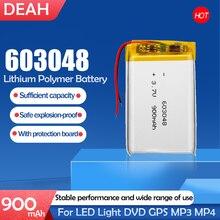 3.7v 900mah 603048 células de íon de li-po li do polímero de lítio da bateria recarregável para a luz conduzida dvd gps mp3 mp4 mp5 pda psp power bank