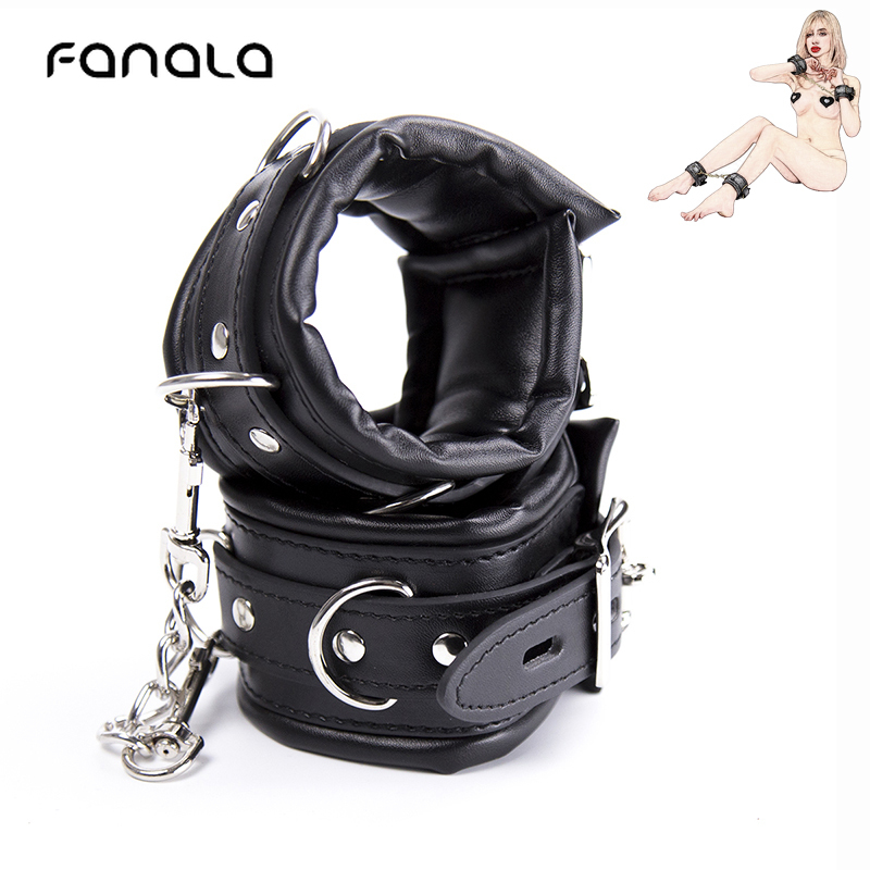 PU Leather Metal Handcuffs For Sex Bondage BDSM Adult Sex Toys For Couple Flirt Binding Game Sex Slave Restraints Ankle Cuff