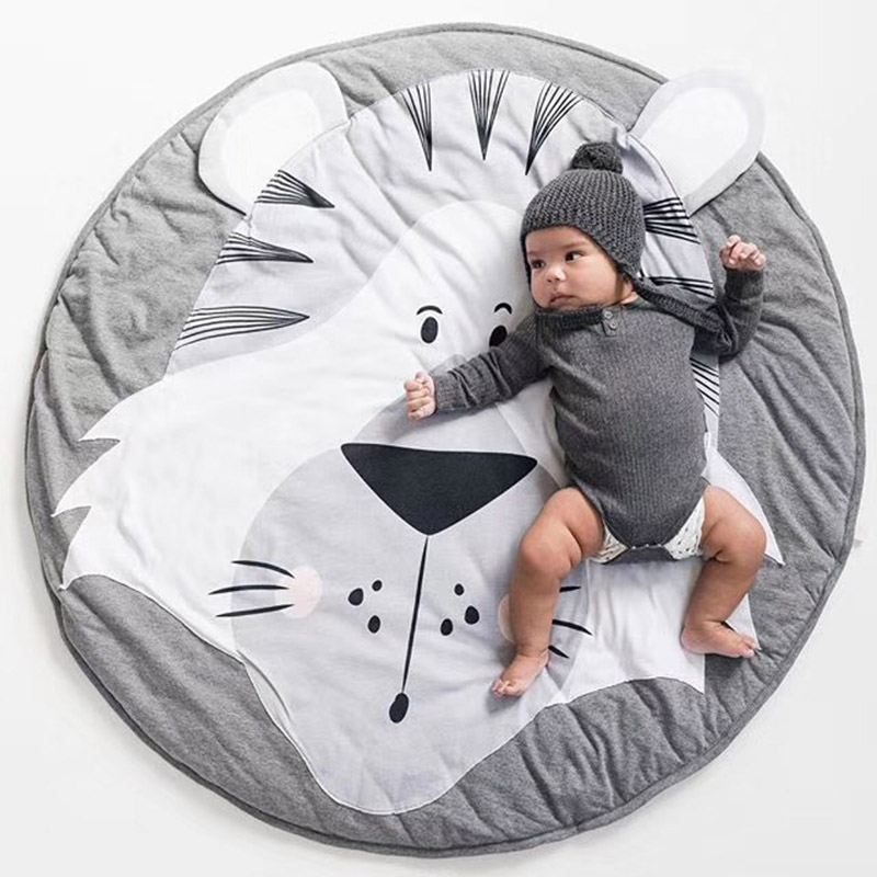 Play Mat Baby Crawling Blanket Floor Carpet For Kids Room Mats Soft Cotton Padded Playmat Round Rugs Newborn Girl Boy Birth Gift
