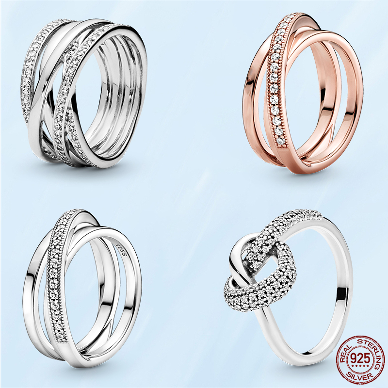 2021 New 925 Sterling Silver Pandora Rings Sparkling & Polished Lines Finger Ring for Women Wedding Engagement Jewelry Gift