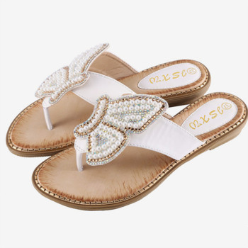 New Breathable Ladies Sandals Slippers Bohemia Rhinestone Pearl Butterfly Decorative Women's Shoes Summer Beach Flip Flops