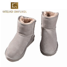 KATELVADI High Qaulity Women Snow Boots Genuine Cowhide Leather Ankle Boots Warm Winter Boots Woman Shoes US Size 5-10 K-513 недорго, оригинальная цена