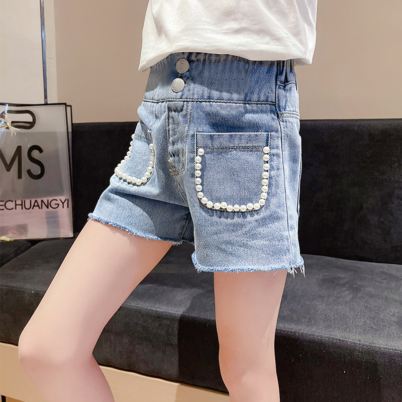Children Shorts Fashion Pearl Cowboy Girl Summer Clothes Blue Kids Short Jeans Pants Korean Straight Casual Denim Short Trousers