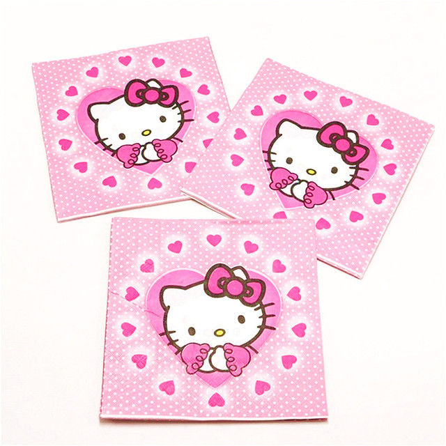 Hello Kitty Princess Tablecloth Kid Girls Favor Birthday Pack Event Party Cup Plate Mask Baby Shower Disposable Tableware Sets 4