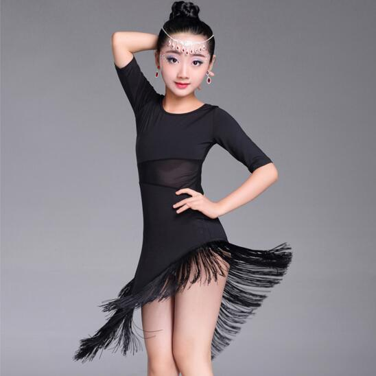 Image 2 - New Girls Latin Dance Dress Fringe Latin Dance Clothes Kids Competition Salsa Costume Black Red Child Ballroom Tango Dresses-in Latin from Novelty & Special Use