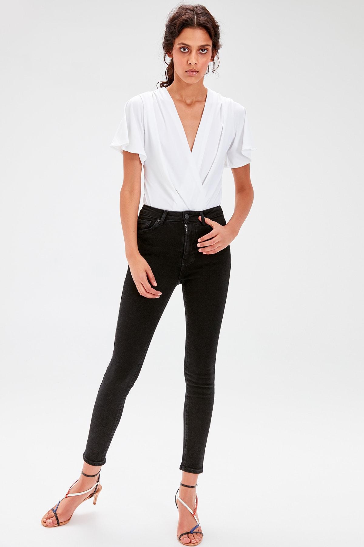 Trendyol Black High Waist Skinny Jeans TWOAW20JE0017