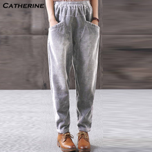 Trendy Corduroy Trousers Women Plus Size Spring Wimter Harem Warm Pants Women Causal Womens Pants High Waisted Pantalones(China)