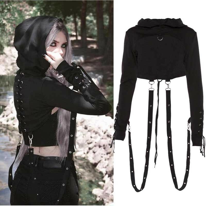 Women Gothic Punk Hooded Hoodies Short Coat Black Long Sleeve Sweatshirt Hoodie Shirt Pull Femme Cosplay Tops Drop Ship
